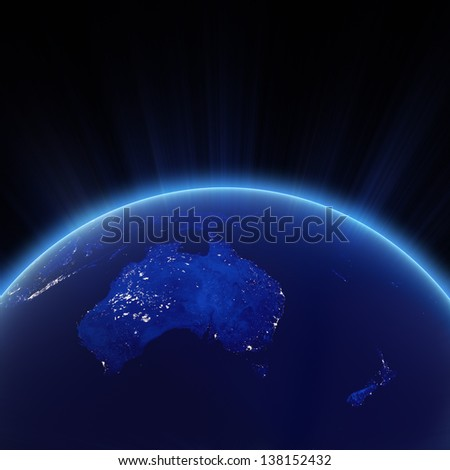 Australia and New Zeland city lights at night. Elements of this image furnished by NASA - stock photo