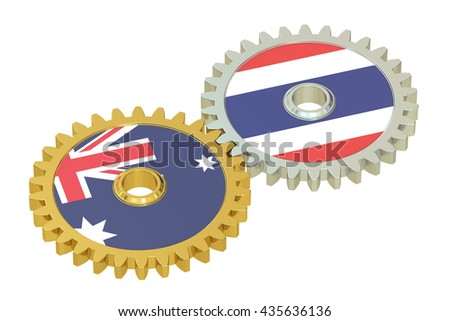 Australia and Thailand flags on a gears, 3D rendering isolated on white background