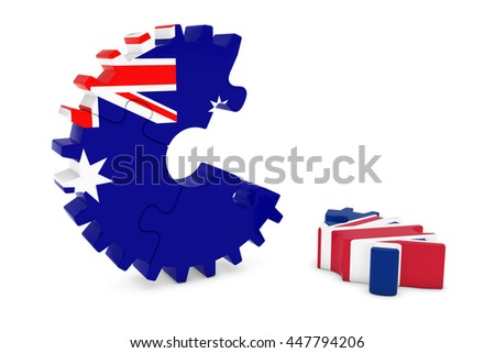 Australia and United Kingdom Relations Concept 3D Cog Flag Puzzle Illustration - stock photo