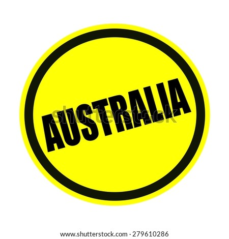 AUSTRALIA black stamp text on yellow
