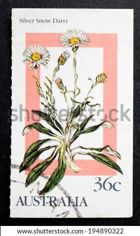 AUSTRALIA - CIRCA 1986:A Cancelled postage stamp from Australia illustrating Alpine Wildflowers, issued in 1986. - stock photo
