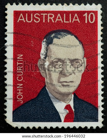 AUSTRALIA - CIRCA 1975:A Cancelled postage stamp from Australia illustrating Australian Prime Ministers, issued in 1975.