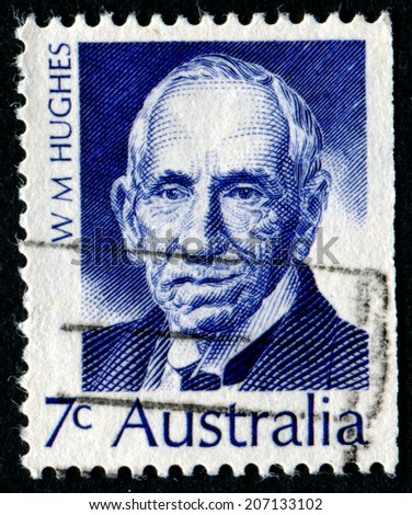 AUSTRALIA - CIRCA 1972:A Cancelled postage stamp from Australia illustrating Australian Prime Ministers, issued in 1972.