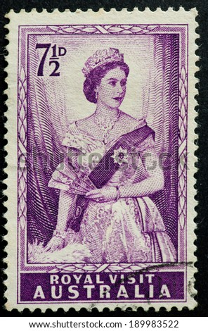 AUSTRALIA - CIRCA 1954:A Cancelled postage stamp from Australia illustrating Royal visit of Queen Elizabeth II, issued in 1954.