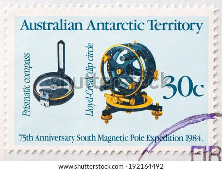 AUSTRALIA - CIRCA 1984:A Cancelled postage stamp from Australia illustrating 75th anniversary expedition to south magnetic pole, issued in 1984.
