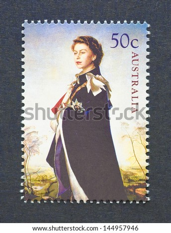 AUSTRALIA - CIRCA 2006: a postage stamp printed in Australia showing an image of Queen Elizabeth II, circa 2006. - stock photo