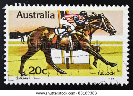 AUSTRALIA - CIRCA 1978: A stamp from Australia (catalogue number Scott 2008 691) shows image of the racehorse Tulloch, circa 1978