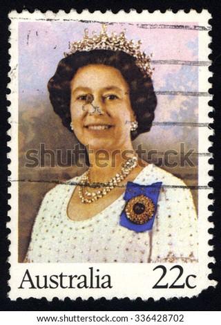 AUSTRALIA - CIRCA 1980: A stamp printed by Australia shows Her Majesty Queen Elizabeth II, circa 1980 - stock photo