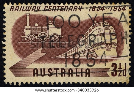 AUSTRALIA - CIRCA 1954: A stamp printed in Australia commemorating 100 Years of Australian Railways service in Australia, Railway series, circa 1954.