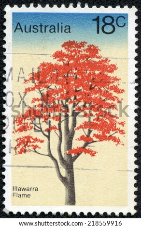 "AUSTRALIA - CIRCA 1978: A stamp printed in Australia from the ""Trees"" issue shows Illawarra Flame Tree, circa 1978. - stock photo"