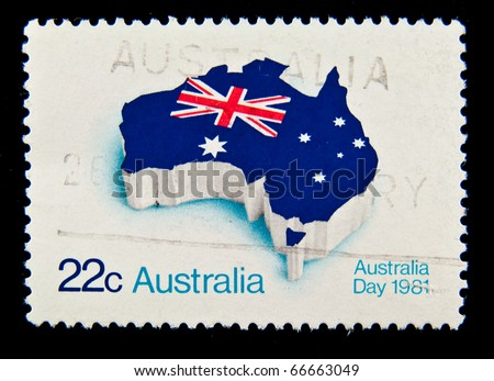 AUSTRALIA - CIRCA 1981: A stamp printed in Australia showing national signs circa 1981 - stock photo