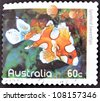 AUSTRALIA - CIRCA 2010: A stamp printed in Australia shows an image of Spotted Sweetlips (Plectorhinchus chaetodonoides) coral faith, inventive, circa 2010 - stock photo