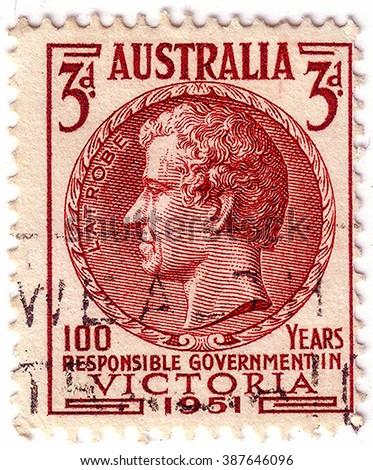 AUSTRALIA - CIRCA 1951: A stamp printed in Australia shows Charles Joseph La Trobe, was the first lieutenant-governor of the colony of Victoria, circa 1951 - stock photo