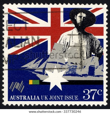 AUSTRALIA - CIRCA 1988: A stamp printed in Australia shows Colonist & Clipper, The Australian Bicentenary series, Australia UK Joint Issue, circa 1988