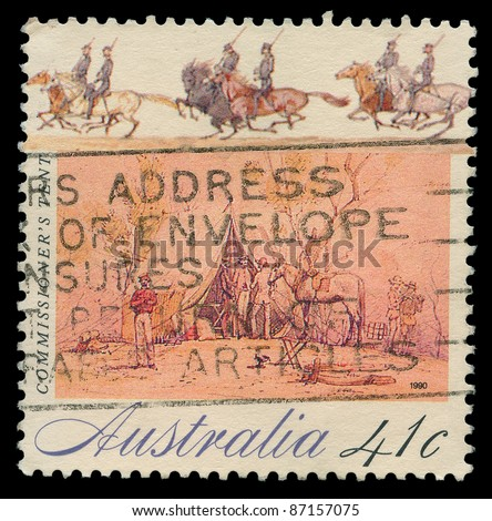 AUSTRALIA - CIRCA 1990: A stamp printed in Australia shows commissioner's tent, circa 1990