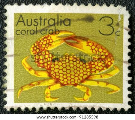 AUSTRALIA - CIRCA 1973: A stamp printed in Australia shows coral crab, series, circa 1973 - stock photo