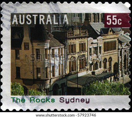 AUSTRALIA - CIRCA 2006: A stamp printed in Australia shows district of Sydney The Rocks, circa 2006