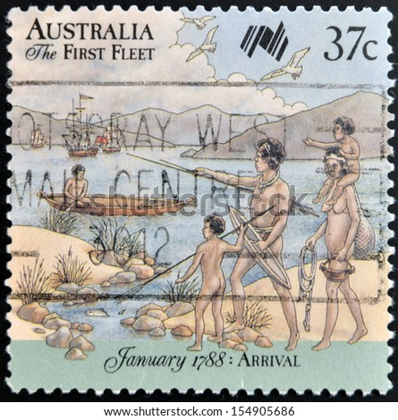AUSTRALIA - CIRCA 1987: A stamp printed in Australia shows First Fleet arrives at Cape of Good Hope; series, circa 1987  - stock photo