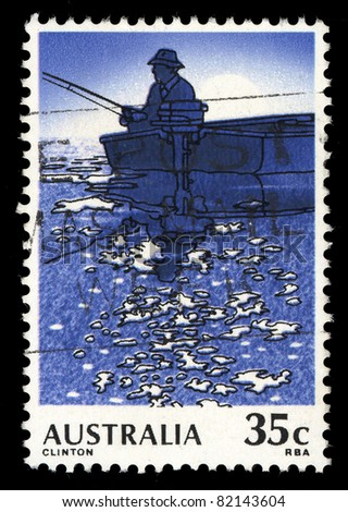 AUSTRALIA - CIRCA 1979: A stamp printed in Australia shows Fishing, circa 1979 - stock photo