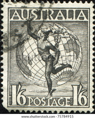 AUSTRALIA - CIRCA 1948: A Stamp printed in Australia shows Hermes and Globe, circa 1948 - stock photo