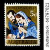 AUSTRALIA - CIRCA 1965: a stamp printed in Australia shows illustration of Jesus Christ nativity in the holy family. Australia, circa 1965 - stock photo