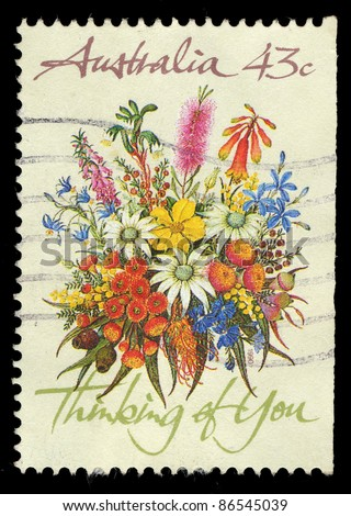 AUSTRALIA - CIRCA 1990: A stamp printed in Australia shows image of flowers, thinking of you, circa 1990 - stock photo