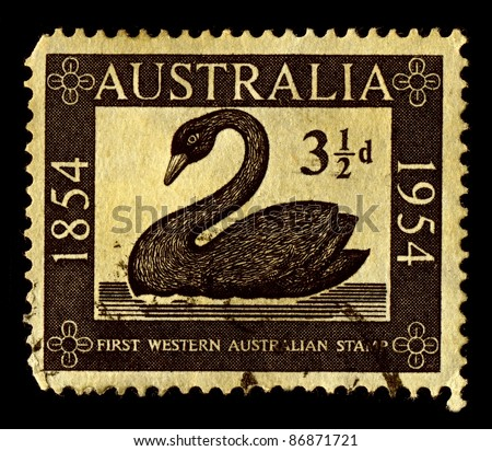 AUSTRALIA-CIRCA 1954:A stamp printed in Australia shows image of Stamp of Western Australia's first, circa 1954. - stock photo