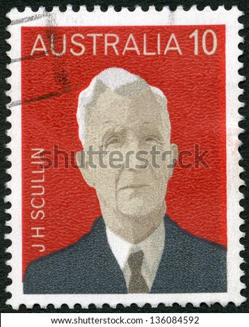 AUSTRALIA - CIRCA 1975: A stamp printed in Australia shows James Henry Scullin (1876-1953), series Australian Prime Ministers, circa 1975