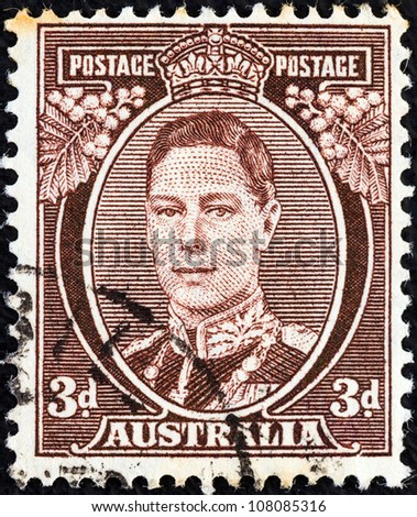 AUSTRALIA - CIRCA 1937: A stamp printed in Australia shows King George VI, circa 1937.