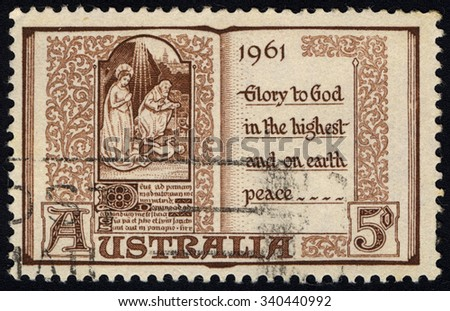 AUSTRALIA - CIRCA 1961: A stamp printed in Australia shows Opened Prayerbook with Christmas scene from the 15th century, Christmas 1961 series, circa 1961 - stock photo