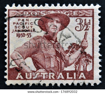 AUSTRALIA - CIRCA 1952: A stamp printed in Australia shows Pan-Pacific Scout Jamboree, Greystanes, circa 1952.  - stock photo