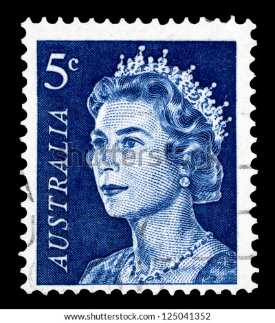 "AUSTRALIA - CIRCA 1966: A stamp printed in Australia shows Portrait of Queen Elizabeth II, without inscriptions, from the series ""Queen Elizabeth II"", circa 1966"