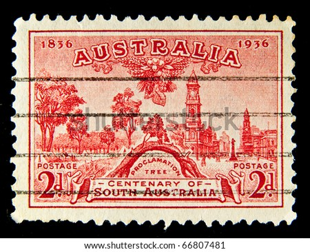 AUSTRALIA - CIRCA 1936: A stamp printed in Australia shows Proclamation Tree, circa 1936