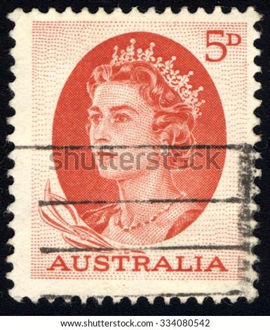 AUSTRALIA - CIRCA 1963: A stamp printed in Australia shows Queen Elizabeth II, circa 1963. - stock photo