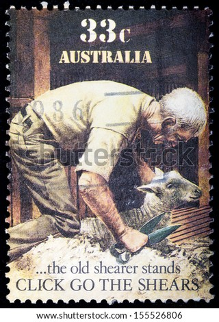 AUSTRALIA - CIRCA 1986: A stamp printed in Australia shows sheepshearing, the old shearer stands, circa 1986 - stock photo