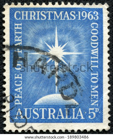 AUSTRALIA - CIRCA 1963: A stamp printed in Australia shows Star of Bethlehem, circa 1963 - stock photo