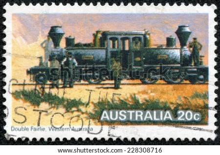 "AUSTRALIA - CIRCA 1979: A Stamp printed in Australia shows the ""Double Fairlie"" Locomotive, Steam Locomotives series, circa 1979 - stock photo"