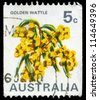 AUSTRALIA - CIRCA 1970: A Stamp printed in AUSTRALIA shows the Golden Wattle (Acacia pycnatha), national flower, circa 1970 - stock photo