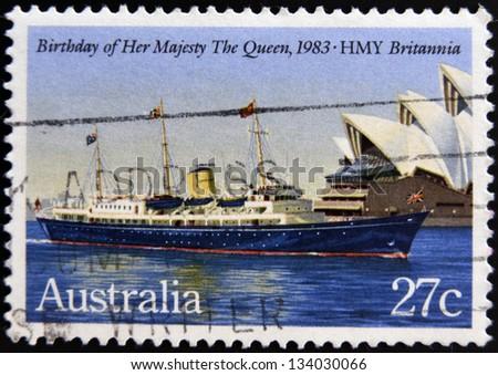 AUSTRALIA - CIRCA 1983: A Stamp printed in Australia shows the HMY Britannia, devoted to Queen Elizabeth II, 57th Birthday, circa 1983 - stock photo