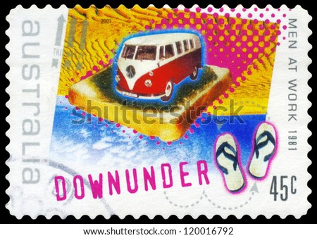 "AUSTRALIA - CIRCA 2001: A Stamp printed in AUSTRALIA shows the Image for the Song ""Down Under"", by Men at Work (1981), Rock Music series, circa 2001"