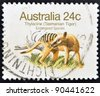 """AUSTRALIA - CIRCA 1981: A Stamp printed in AUSTRALIA shows the image of a Thylacine (Tasmanian Tiger) with the description """"Endangered Species"""",  circa 1981 - stock photo"""