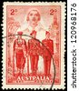AUSTRALIA - CIRCA 1940: A Stamp printed in AUSTRALIA shows the Nurse, Sailor, Soldier and Aviator, Australias participation in WWII, series, circa 1940 - stock photo
