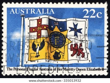AUSTRALIA - CIRCA 1982: A stamp printed in Australia shows The Personal Flag for Australia of Her Majesty Queen Elizabeth II, circa 1982 - stock photo