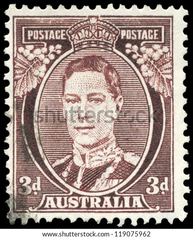 AUSTRALIA - CIRCA 1938: A Stamp printed in AUSTRALIA shows the portrait of a King George VI, series, circa 1938