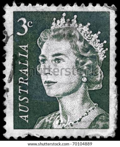 AUSTRALIA - CIRCA 1967: A Stamp printed in AUSTRALIA shows the portrait of a Queen Elizabeth II (born 21 April 1926), series, circa 1967 - stock photo