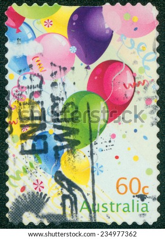 AUSTRALIA - CIRCA 2010: A Stamp printed in AUSTRALIA shows the Three balloons, Christmas issue, circa 2010 - stock photo