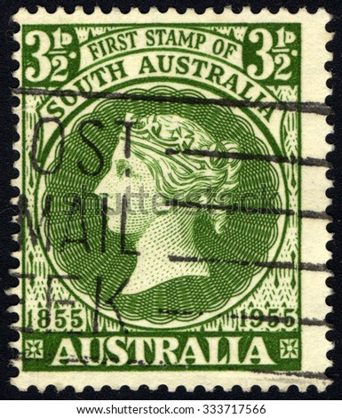 AUSTRALIA - CIRCA 1955: A stamp printed in Australia, the first postage stamp dedicated to South Australia shows the Queen Victoria, circa 1955 - stock photo