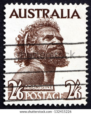 AUSTRALIA - CIRCA 1952: a stamp printed in the Australia shows Aborigine, Indigenous Inhabitant of Mainland Australia and Tasmania, circa 1952 - stock photo