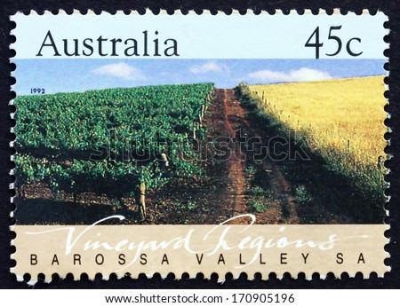 AUSTRALIA - CIRCA 1992: a stamp printed in the Australia shows Barossa Valley, South Australia, Vineyard Region, circa 1992 - stock photo