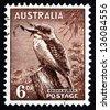 AUSTRALIA - CIRCA 1942: a stamp printed in the Australia shows Kookaburra, Dacelo, Australian Wildlife, circa 1942 - stock photo